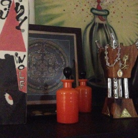 BFF perfume bottles, Saudi Arabian incense burner, Laurie's Little Red Riding Hood Vase, Mandala and Head's Up