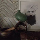 Yogi Bhajan, 84 steps, singing bowl and stomach on a tripod...the most prized piece in my ceramic collection
