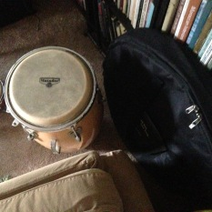 Drum, gong, and arm chair